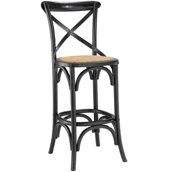 Modway Gear Elm Wood Rattan Bar Stool