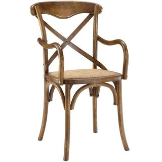 Gear Elm/ Rattan Dining Arm Chair