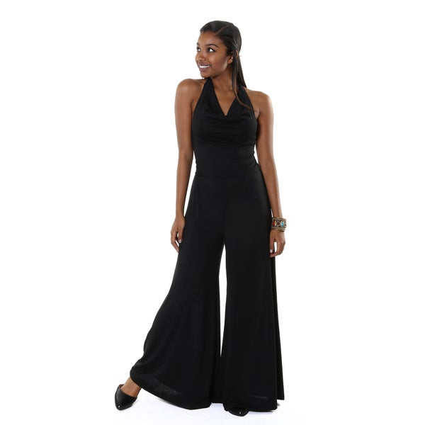 Hadari Women's Black Wide Leg Cowl Neck Halter Jumper