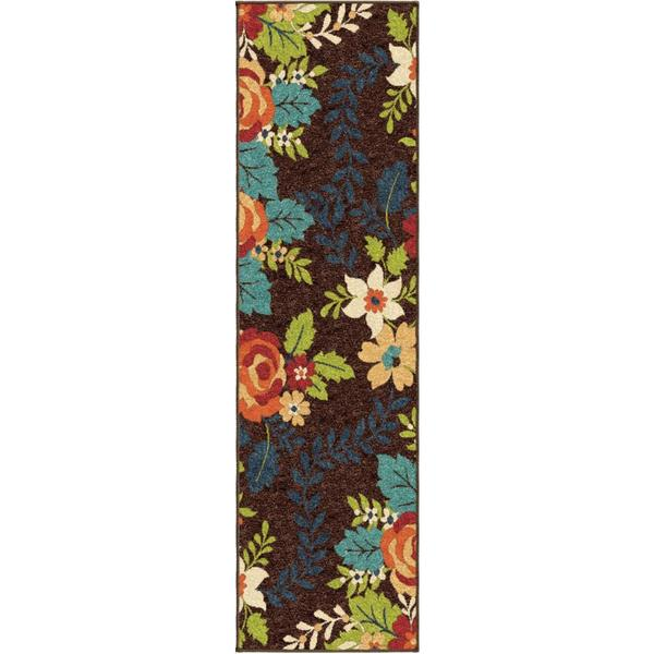 "Veranda Collection Rosey Brown Olefin Area Rug (2'3"" x 8')"