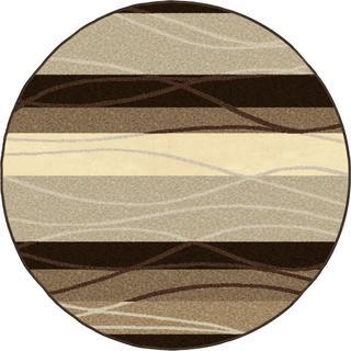 "Four Seasons Collection Tonal Stripe Mink Olefin Area Rug (7'8"" Round)"