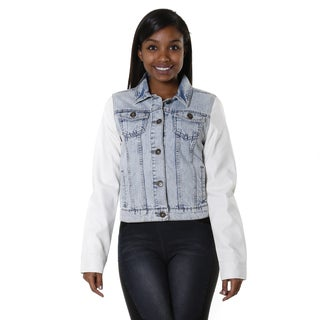 Hadari Women's Contemporary Jean Jacket with White Leather Slee
