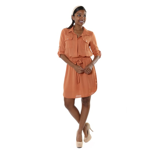 Hadari Women's Casual Button Up Tunic Dress
