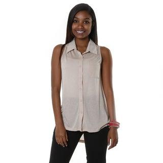 Hadari Women's Beige Button Up Blouse