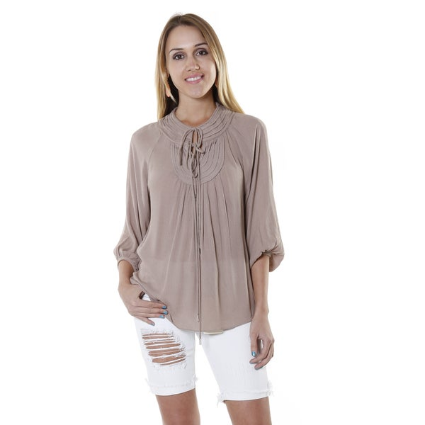 Hadari Women's Beige Long Sleeve V-neck Blouse