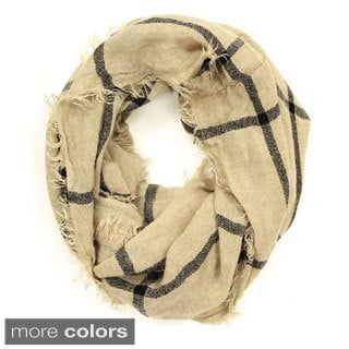 Le Nom Women's Simple Plaid Knitted Infinity Scarf