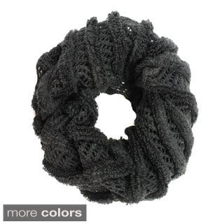 Le Nom's Women's Spiral Rope Net Knitted Infinity Scarf