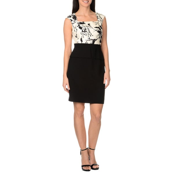 Tahari Arthur S. Levine Women's Printed Peplum Beaded Cocktail Dress
