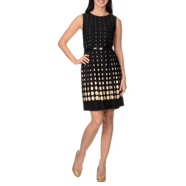Tahari Arthur S. Levine Women's Belted Gradient Dot Dress