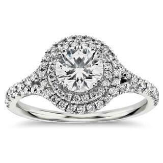 14k White Gold 1ct TDW Double Halo Round Diamond Engagement Ring
