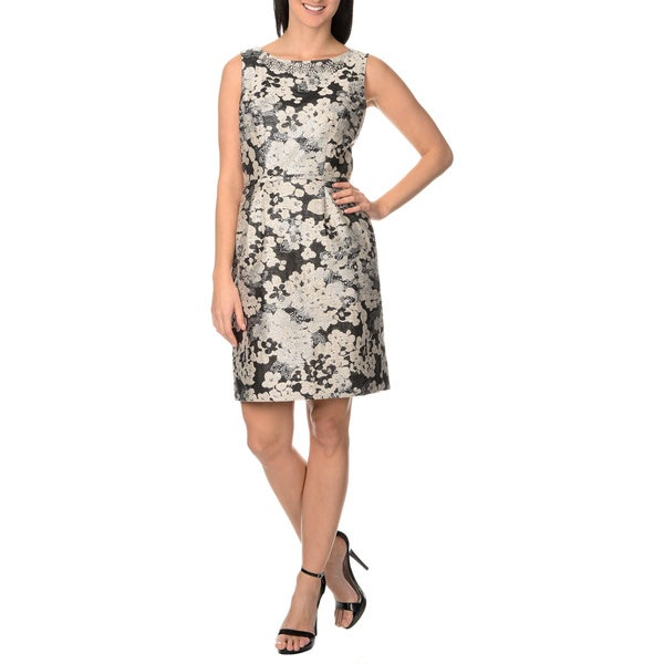 Tahari Arthur S. Levine Women's Floral Metallic Jacquard Sheath Embellished Neckline Dress