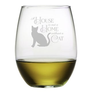 Cat Stemless 21-ounce Wine Glasses (Set of 4)