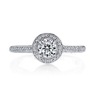 14k White Gold 1 1/6ct TDW Vintage Halo Round Diamond Engagement Ring