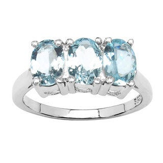 Sterling Silver 2 1/5ct TGW Genuine Aquamarine Ring