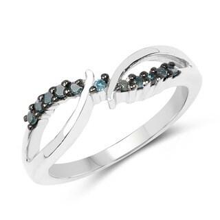 Sterling Silver 1/8ct TDW Blue Diamond Twist Ring