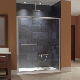DreamLine Infinity-Z 56 to 60 in. W Shower Door, Clear Glass, with SlimLine Shower Base 32 in. D x 60 in. W and Teak Seat