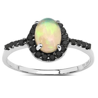 Malaika Sterling Silver 1/2ct TGW Genuine Ethiopian Opal and 0.27 Carat Genuine Diamond Accents Ring
