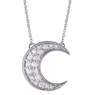 Beverly Hills Charm 10k White Gold 1/5ct TDW Diamond Crescent Moon Necklace (H-I, I2-I3)