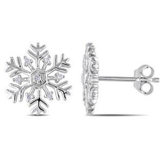 Sterling Silver Snowflake Diamond Stud Earrings