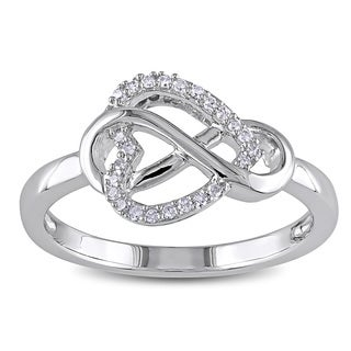 Haylee Jewels Sterling Silver 1/10ct TDW Diamond Heart Infinity Ring (G-H, I2-I3)