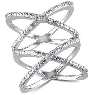 Haylee Jewels Sterling Silver 1/10ct TDW Criss-cross Diamond Ring (G-H, I2-I3)
