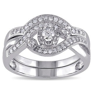 Miadora Sterling Silver 1/3ct TDW Diamond Bridal Ring Set (G-H, I2-I3)