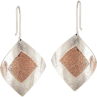 Handcrafted Sterling Silver with Copper Square Wavy Dangle Earrings (Mexico)