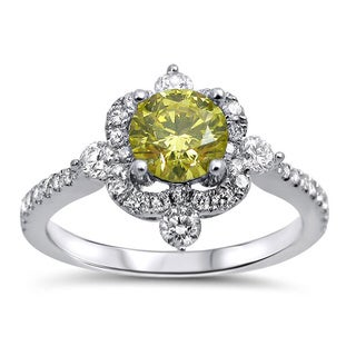 Noori 18k White Gold 1 1/10ct TDW Certified Canary Yellow Diamond Ring (F-G, SI1-SI2)