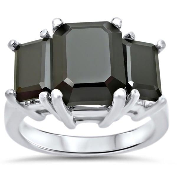 Noori 14k White Gold 5 1/4ct TDW Emerald-cut 3-stone Certified Black Diamond Ring