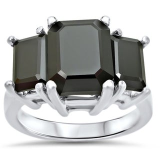 Noori 14k White Gold 5 ct TDW Emerald-cut Three-stone Certified Black Diamond Ring