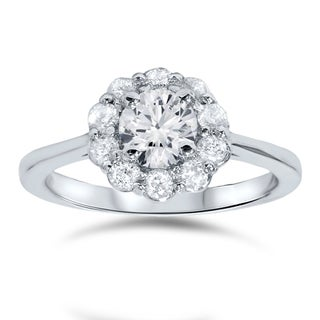 Bliss 14k White Gold 1 1/2ct TDW Halo Diamond Ring (H-I, I2-I3)