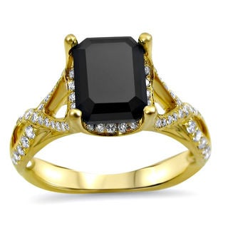 Noori 14k Yellow Gold 2 1/4ct TDW Black Emerald-cut Certified Diamond Ring