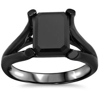 Noori 14k Black Rhodium-plated Gold 1 4/5ct TDW Black Emerald-cut Certified Diamond Ring
