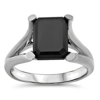 Noori 14k White Gold 1 4/5ct TDW Black Emerald-cut Certified Diamond Ring