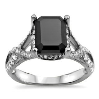 18k White Gold 2 1/4ct TDW Black Emerald-cut and White Certified Diamond Ring (F-G, SI1-SI2)