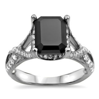 Noori 18k White Gold 2 1/4ct TDW Black Emerald-cut and White Certified Diamond Ring (F-G, SI1-SI2)