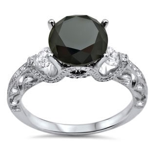 Noori 18k White Gold 2 3/8ct TDW Black 3-stone Round Certified Diamond Ring