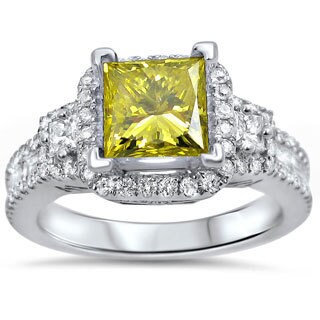 Noori 18k White Gold 2ct TDW Canary Yellow Princess Certified Diamond Engagement Ring (E-F, SI1-SI2)