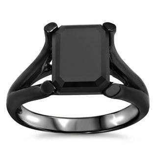 Noori 14k Black Rhodium-plated Gold 3ct TDW Black Emerald-cut Certified Diamond Ring