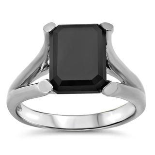 Noori 14k White Gold 3ct TDW Black Emerald-cut Certified Diamond Ring