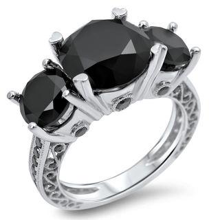 Noori 14k White Gold 6ct TDW Black Diamond 3-tone Round Ring