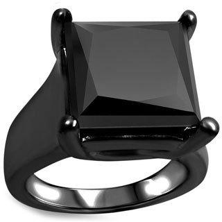 Noori 14k Black Rhodium-plated Gold 6ct TDW Black Princess-cut Certified Diamond Ring