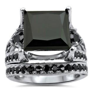 Noori 14k White Gold 7 1/3ct TDW Black Princess-cut Certified Diamond Bridal Set