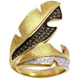 Beverly Hills Charm 14k Yellow Gold 1/3ct TDW Brown and White Diamond Textured Leaf Ring (H-I, I2-I3)