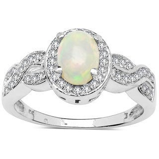 Sterling Silver 4/5ct TGW Ethiopian Opal and White Topaz Ring