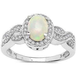 Malaika Sterling Silver 4/5ct TGW Ethiopian Opal and White Topaz Ring