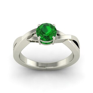 Platinum 1 1/10ct TGW Emerald Solitaire Ring