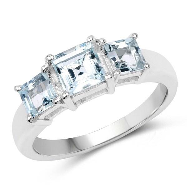 Sterling Silver Square Aquamarine 3-stone Ring