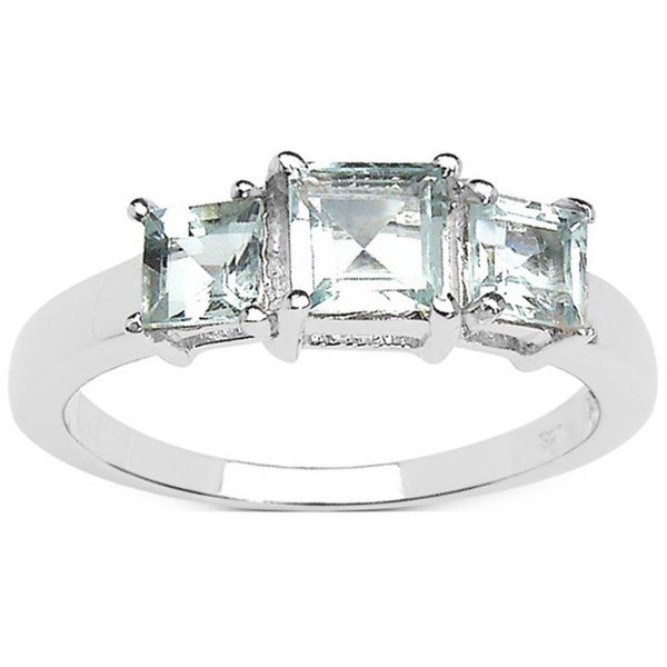 Sterling Silver Square Aquamarine 3-stone Ring
