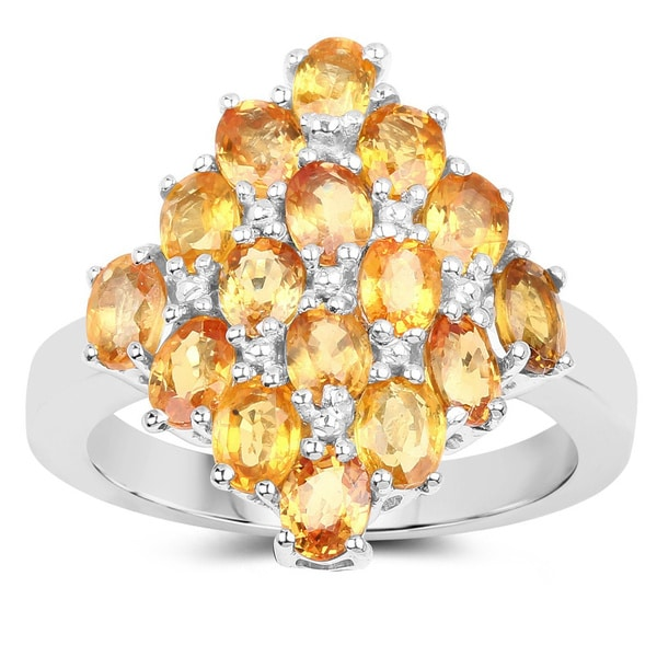 Sterling Silver 4ct. TCW 16-stone Orange Sapphire Ring